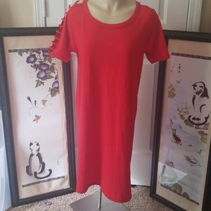 Red t shirt dress with shoulder cutouts